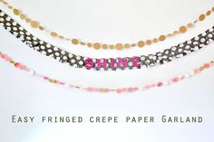 Make a paper garland - they're inexpensive, easy, and very versatile! Perfect if you want a quick craft fix or some simple decor on a budget.http://diycandy.com/2015/07/fringed-crepe-paper-garland-tutorial/?utm_source=feedblitz&utm_medium=FeedBlitzRss&utm_campaign=diycandy