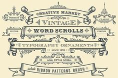 Vintage Ornaments Ribbon Banner by G7 on @creativemarket