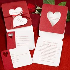 Red and White Cut-Out-Heart Valentine's Day Wedding Invitations