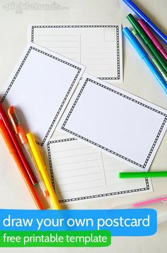 Draw Your Own Postcard - a free printable postcard template. Color a few of these for your sponsored child. Send them a few blanks ones and ask if they will decorate them and send them back to you.