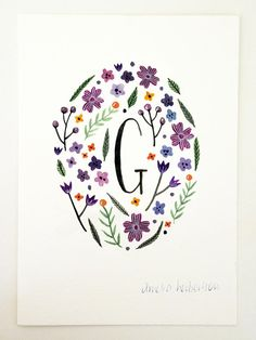 Monogram Letter G floral art print by AmeliaHerbertson