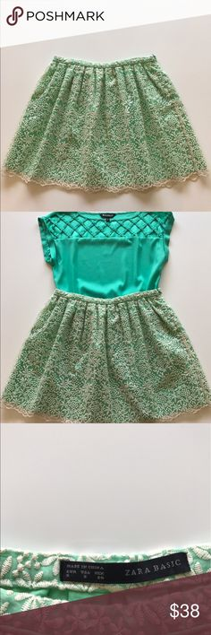 Zara Mint green mini skirt Super cute mint green Zara mini skirt with lace overlay. Zara Skirts Mini