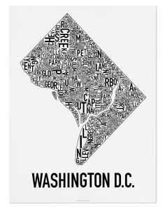Washington DC Neighborhood Map Poster or Print / Washington DC Type Neighborhood Map Design / DC Typography Map Art Map Wall Decor, Modern Wall Decor, Washington Dc Map, Poster City, Globe Decor, Map Design, Design Posters, Branding Design, Graphic Design