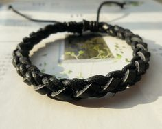 Christmas gift Popular trend Tiny Style Black Cotton Cord Nature Black Leather Braid Woven Together Stylish Adjustable Wrap Bracelet  S-23