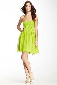 Asti Short Strapless Silk Dress in Bright Kiwi Green