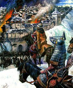 1240, asedio y toma de Kiev por los mongoles, en obra de Alexander Yezhov. Más en www.elgrancapitan.org/foro