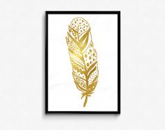 Feather Gold Foil Art Printable Poster Digital Download by HamptyDamptyArt on Etsy