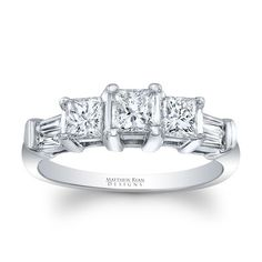 Global Matthew Ryan Designs Princess Cut 3 stone Ring with diamond Accents in 14KT Gold