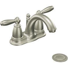 Moen 6610BN Brantford Two-Handle Low Arc Bathroom Faucet Brushed Nickel - Overstock™ Shopping - Great Deals on Moen Bathroom Faucets
