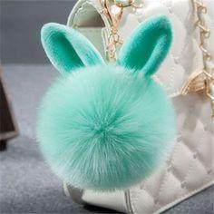 New Fur Pom Pom Keychain Fluffy Bunny Rabbit Fur Keychain for Women Bag Charm Rabbit Ears Key Chain Car Key Ring Keychains QC06