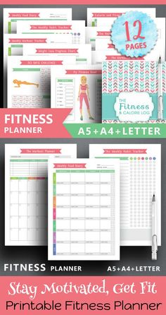 Staying motivated is easier when you set your goals and make plans in writing. Stick to your fitness goals with this 12 page printable fitness planner. Bullet journal fitness bundle. Weight tracker, fitness goals, meal planner, measurements log, 30 day challenge, workout tracker, instant download from SquirrelPlanner #affiliate #bulletjournalcollection #fitnessplanner #bujoprintables