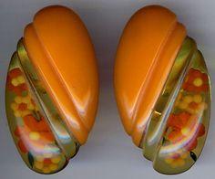 Pair of Vintage Orange BAKELITE Reverse Carved Painted FLOWERS DRESS CLIPS