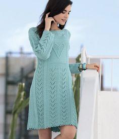 Ажурное платье спицами с узором в виде сердца - Портал рукоделия и моды