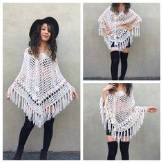 Vintage Fringe Poncho Crochet Off White Sweater OS Amazing vintage handmade sweater! I love the color, loose knit, and fringe! This is excellent to wear as a shawl, or just for some extra warmth. Free size, excellent condition! Vintage Sweaters Shrugs & Ponchos