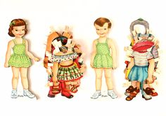 """Vintage Paper Doll """"Polly"""" and """"Peter"""" with Clothing (c.1950s)"""