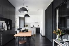 〚 Stylish black and white apartment of designer in Moscow sqm) 〛 ◾ Photos ◾Ideas◾ Design White Apartment, One Bedroom Apartment, White Rooms, Modern Interior Design, Kitchen Interior, Colorful Interiors, Dining Bench, Small Spaces, Sweet Home