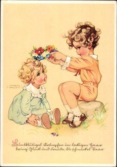 Künstler Ansichtskarte / Postkarte Lungershausen, Ilse Wende, Buntblütiges Kränzchen im lockigen Haar