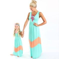 * Please add each size separately to your shopping cart.<br /> * Waist design<br /> * Material: 10% Cotton, 90% Polyester<br /> * Machine wash, tumble dry<br /> * Imported<br /> Featuring its bright color block and waist design, this family maching dress is sure to be loved by little girl when enjoying sunshine with her darling mommy.