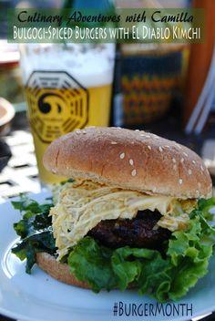 Bulgogi-Spiced Burger with Mango Mustard Kimchi