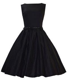Cadence Wade-Wilson: Sleeveless Retro Style Solid Color Dress