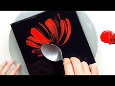 (402) One red flower | Spoon painting | Fluid Acrylic Pouring for beginners | Designer Gemma77 - YouTube Galaxy Painting Acrylic, Acrylic Painting Flowers, Acrylic Pouring Art, Acrylic Artwork, Acrylic Painting Techniques, Painted Flowers, Easy Flower Painting, Abstract Flower Art, Fluid Acrylics
