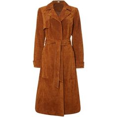 Therapy Sian Suede Trench Coat (14.795 RUB) ❤ liked on Polyvore featuring outerwear, coats, tan, women, suede leather coat, tan coat, brown suede coat, suede coat and suede trench coats