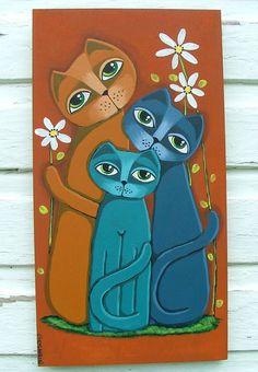 ORIGINAL happy cats cute original acrylic on wood panel by GOSHRIN