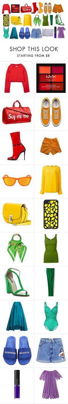 """""""Rainbow Title"""" by michebarquet on Polyvore featuring Golden Goose, NYX, Louis Vuitton, Gucci, Thom Browne, Oakley, Emilio Pucci, Marc Jacobs, Casetify and Hermès"""