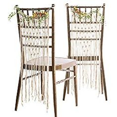 Ling& moment Bohemian Bride and Groom Chair Signs Wedding Chair Hanger Macrame Wall Hanging Decoration Boho Decor Set of 2 Bohemian Wedding Decorations, Boho Decor, Boho Wedding, Wedding Themes, Copper Wedding, Ceremony Decorations, Wedding Tips, Wedding Centerpieces, Garden Wedding