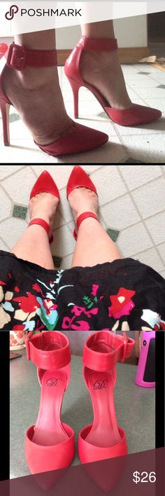 Retro D Matte Red Heels Joan Crawford approved 😉❤️. These super sexy ankle strap heels were worn ONCE at the office. Letting them go as I just don't wear them enough. Mint condition and if love that retro/ pin-up vibe these are for you! The color is a bright red, matte finish. HOT. Price FIRM except for repeat customers. Thank you! D Shoes Heels
