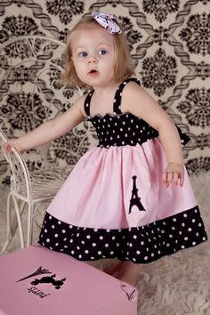 Custom Boutique girls Eiffel Tower Paris dress size 18 months to 12 years Toddler Girl Dresses, Little Girl Dresses, Baby Sewing, Sewing For Kids, Baby Dress Design, Baby Frocks Designs, Baby Dress Patterns, Kids Frocks, Girls Boutique