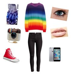 """""""Random rainbow"""" by bruh-its-d on Polyvore featuring Converse, LASplash, women's clothing, women, female, woman, misses and juniors"""