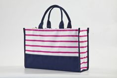 Striped Utility Tote- great for just about any thing...cute diaper bag too! Also comes in Grey/Blue  www.kellykottage.com Like us on FB!