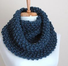 Knit+Cowl+Free+Pattern | Infinity Scarf Cowl in Denim Blue Hand Knit Chunky Textured Pattern ...