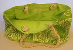 """Nordstrom NWT Woven Green Tote Paisley Print Medium Size 19"""" Across X 12"""" Tall  #Nordstrom #TotesShoppers"""