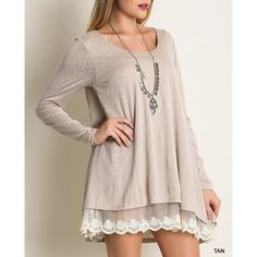 """Nothing Twice"" Lace Hem Tunic Top Lace hem long sleeve tunic top. Available in black, tan or mocha. This listing is for the TAN. Loose fit. Model is wearing the size small. Brand new. NO TRADES DON'T ASK. Bare Anthology Tops Tunics"