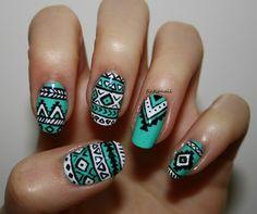 75 Most Stylish Nail Art Pattern Design Ideas Nail Art Tribal, Neon Nail Art, Neon Nails, Shellac Nails, Owl Nail Designs, Line Nail Designs, Nail Art Motif, Motifs Aztèques, Matte Pink Nails