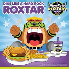 The Hard Rock Roxtars' favorite hangout is none other than the Hard Rock Cafe. So they've left some awesome treats waiting just for you. Party like a Hard Rock Roxtar with your own Activity Book loaded with lots of fun activities. Nosh on your favorite foods served on your own guitar dish.  And of course, don't leave without stopping by our Rock Shop for Hard Rock Roxtars gear to take home.