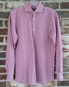 372581b93 Hugo Boss Plaid Shirt Slim Fit Red White Black Chest 37 Sleeve 32.5 Length  29.5