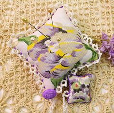 Vintage Linen Fabric Pincushion Vintage Lavender by PlumsandHoney