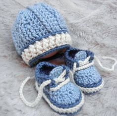 Crochet Baby Boy Hat and Booties Hat and by LittleBudsCrochet, $27.00
