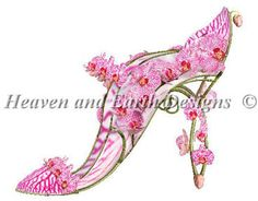 Heaven And Earth Designs Shoe Fleur - Cross Stitch Pattern. Model stitched over one thread on 25 ct fabric with DMC floss and Kreinik #4 Braid. Stitch Count: 32