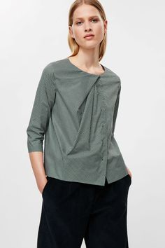 COS image 2 of Draped-neck printed shirt in Jade