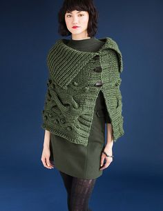 Ravelry: #4 Chunky Cabled Cape pattern by Jan Hurwitz