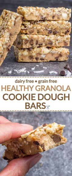 These healthy, nutty cookie dough bars are made with real food ingredients, dairy free, gluten free, grain free! My FAVORITE healthy dessert ever and naturally sweetened desserts Healthy Granola Cookie Dough Bars Healthy Sweets, Healthy Dessert Recipes, Gluten Free Desserts, Dairy Free Recipes, Healthy Baking, Healthy Desserts, Whole Food Recipes, Snack Recipes, Recipes Dinner