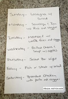 Frugal Living Tip, The Weekly Dinner List! A Way To Get The Family Involved in Meal Planning! #easy #frugal #dinner