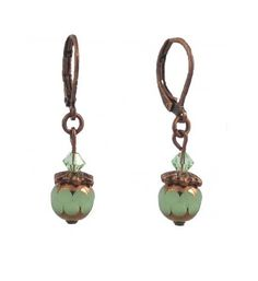 Earrings - E261 - Copper Plated Round Milk Glass and Swarovski (tm) Crystal Beads ~ Jade Green:Amazon:Jewelry