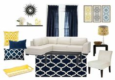 Blue and yellow living room decor - my design! Done with Olioboard.: