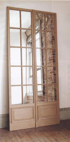 LADIES LOUNGE Door Folding Screen - could do mirrors behind glass, or use the antique mirror spray paint