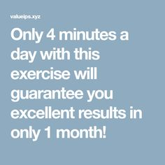 Only 4 minutes a day with this exercise will guarantee you excellent results in only 1 month! Work Weight Loss Challenge, Plank Challenge, Loose Belly Fat, Lose Belly, Flat Belly, Flat Tummy, 4 Day Workout, Workout Plans, 60 Seconds